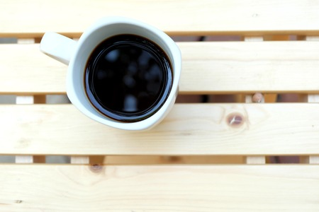 teaching stations: hot coffee on wooden table