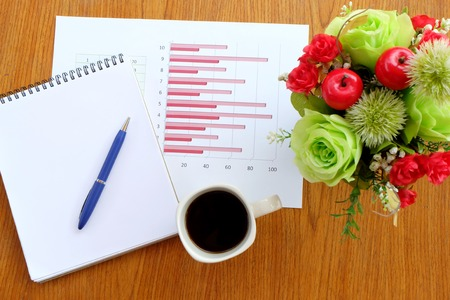 teaching stations: note book and chart on the wooden table with back coffee