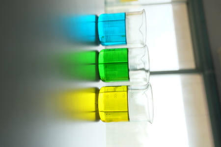 microbial: Colorful fluid in beaker for laboratory use