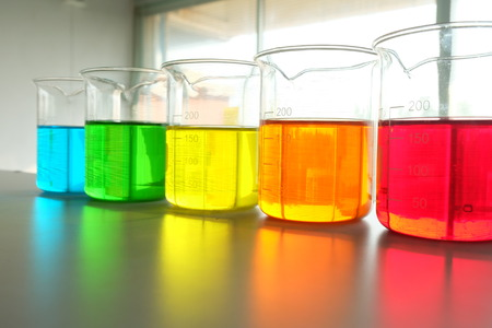 science lab: Colorful fluid in beaker for laboratory use
