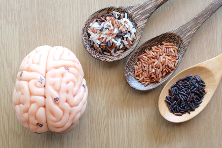thalamus: variety rice in the wooden spoon and brain on wooden background with healthy concept Stock Photo