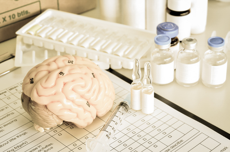 systems thinking: human brain model with old color style Stock Photo