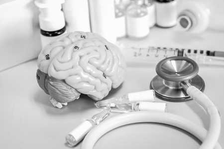 Human brain with black and white color Stock Photo - 78644664