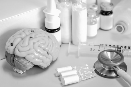 Human brain with black and white color Stock Photo - 78644766