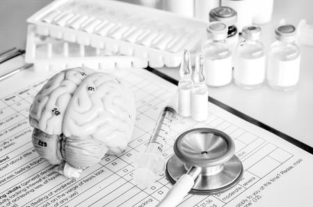 ้human brain with black and white color