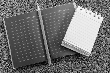 note book with back and white color Stock Photo