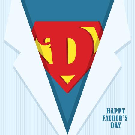 父亲节快乐。超级爸爸图标或符号和蓝色衬衫。矢量插图。