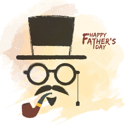 Happy Fathers Day. Men face in retro hipster style with hat, eyeglasses, mustache and beard, tobacco pipe on watercolor background. Hand drawing of vintage old mens accessories.