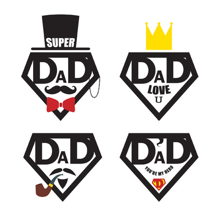 Set of Fathers day icon or symbol isolated on white. Men face with accessories in retro hipster style. Super dad icon. Vector illustration. Illustration