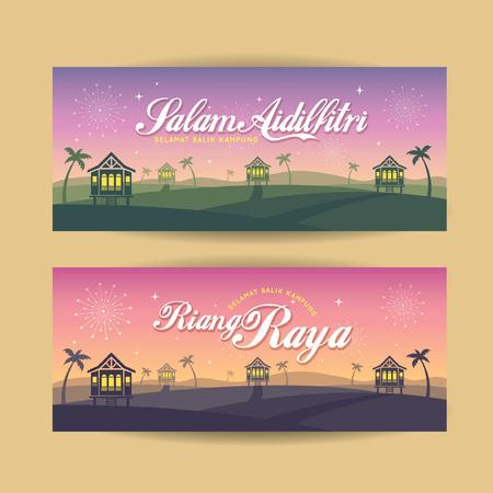 Satz von Hari Raya Aidilfitri Banner-Design. Vector traditionelle malaysische Holzhäuser mit Einbruch der Nachtlandschaft Hintergrund und Feuerwerk. (Übersetzung: Happy Fasting Day, sichere Rückkehr in die Heimatstadt)