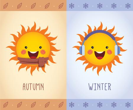fall leaves: Cute cartoon sun wearing scarf, earmuffs. Autumn and Winter vector illustration. Seasonal icon in flat design. Illustration