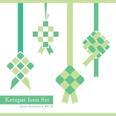 Set of ketupat icon in 4 different design. Vector illustration.