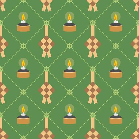 Hari Raya theme pattern. Ketupat (rice dumpling) and pelita (muslim oil lamp) on green background. Vector illustration.