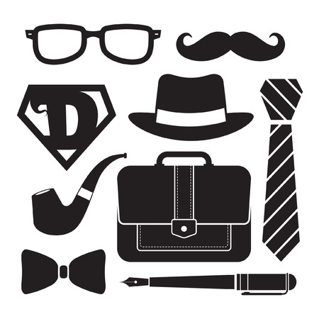 super man: Fathers Day icon set isolated on white. Symbol of men accessories in black & white color. Vector illustration.
