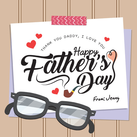 Happy Fathers Day lettering or calligraphy on paper with washi tape and eyeglasses. Fathers day greeting card template in flat design style. Vector illustration.