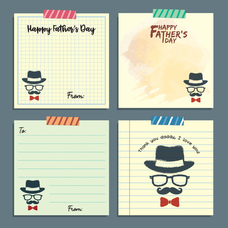 Fathers day memo notes template collection. Vector set of isolated vintage hipster paper sheets, lined paper and notepaper design with tape.