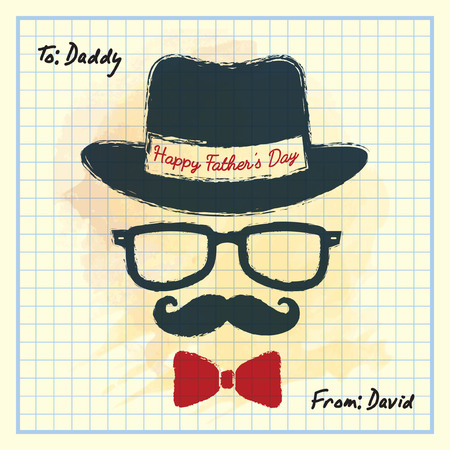 old notebook: Happy Fathers Day. Men face in retro hipster style with hat, eyeglasses, mustache and bow tie on square notebook paper. Hand drawing of vintage old mens accessories. Illustration