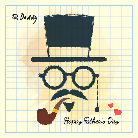 Happy Fathers Day. Men face in retro hipster style with hat, eyeglasses, mustache and beard, tobacco pipe on square notebook paper. Hand drawing of vintage old mens accessories. Illustration