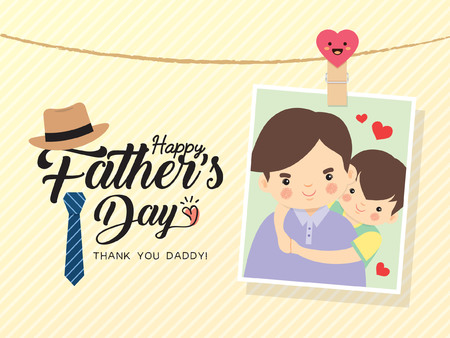 Happy Father's Day template design. Photo of cartoon father and son hugging together. Photo frame with pin and father's day greetings lettering decorated with hat, necktie. Vector illustration.