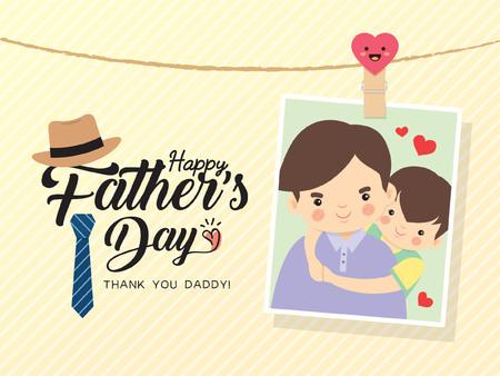 해피 아버지의 날 템플릿 디자인. 만화 아버지와 아들이 함께 포옹의 사진입니다. 사진 프레임 핀과 아버지의 날 인사말 레터링 모자, 넥타이 장식. 벡터 일러스트 레이 션.