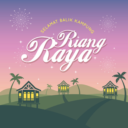 Hari Raya Aidilfitri greeting card template. Vector traditional malay wooden houses with nightfall landscape background and fireworks. (translation: Happy Fasting Day ; return hometown safely)