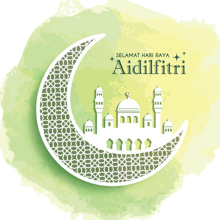 Hari Raya Aidilfitri greeting card template design. Decorative crescent moon and mosque on green watercolor background. Vector illustration. (translation: Fasting Day of Celebration)