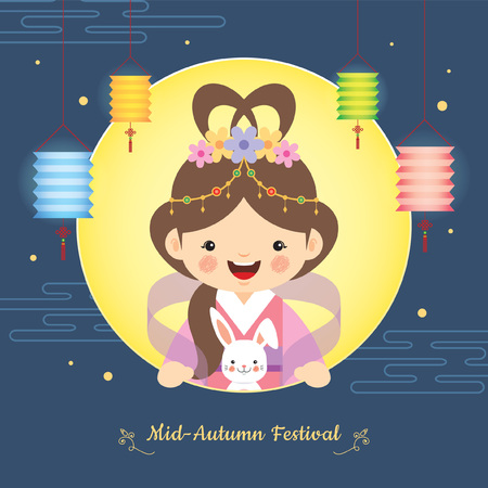 Mid autumn festival illustration of cute Chang'e (moon goddess) and bunny with full moon and lanterns on starry night background. vector cartoon character.