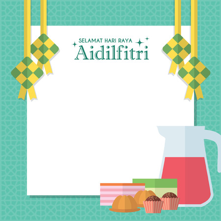 Hari Raya notepaper or message board with ketupat (malay rice dumpling), kuih muih (malay pastry or dessert) and rose syrup. Vector illustration (caption: Fasting Day celebration) Illustration
