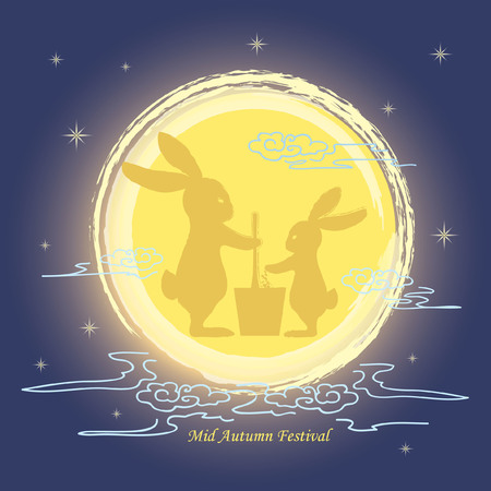 Mid autumn festival greeting with hand drawn full moon and bunny silhouette on starry night background. vector illustration.
