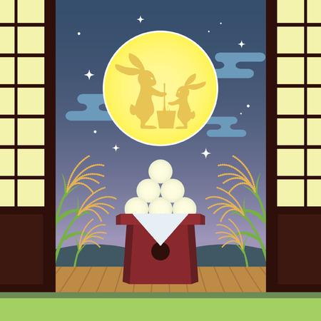 Tsukimi or Otsukimi - Japan Moon viewing or Moon festival. Otsukimi dango, bunny and susuki grass. Japanese festival illustration.