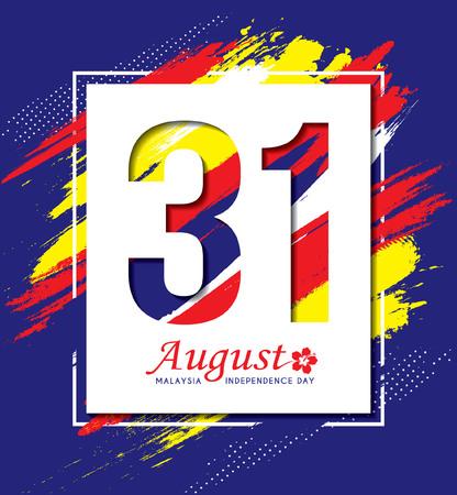 8 월 31 일 - 말레이시아 독립 기념일 그림. 현대 추상 미술 배경 말레이시아 플래그 색에 기본.