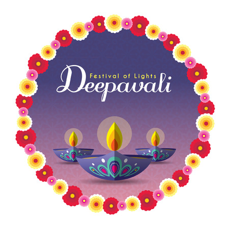 Diwali or Deepavali greeting with beautiful burning diwali diya (india oil lamp) and floral wreath isolated on white background. Festival of Lights celebration vector illustration. Illustration
