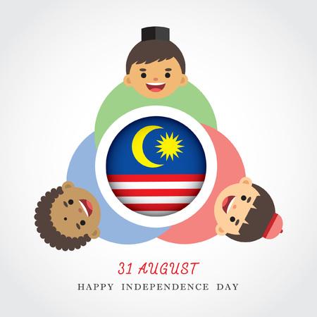 Maleisische Nationale  Onafhankelijkheidsdag illustratie. Leuke cartoon karakter kinderen van Maleis, Indiase & Chinese hand in hand met Maleisië vlag icoon. 31 augustus, Merdeka. Stock Illustratie