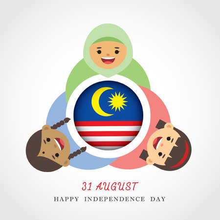 Malaysia National  Independence Day illustration. Cute cartoon character kids of Malay, Indian & Chinese holding hand with Malaysia flag icon.