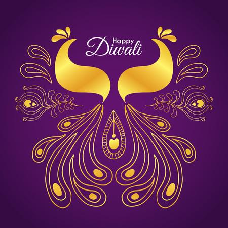Diwali  Deepavali greetings of hand drawn golden peacock. Abstract doodle peacock. Vector illustration. Illustration
