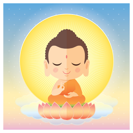 Cute cartoon Buddha sitting on lotus. Vector illustration.