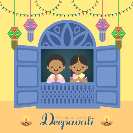 Diwali / Deepavali vector illustration. Cute indian boy and girl with window frame, india lanterns, diya (india oil lamp) and colorful light bulbs for Festival of Lights celebration.