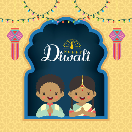 Diwali  Deepavali vector illustration. Cute indian boy and girl with window frame, india lanterns and colorful light bulbs for festival of Lights celebration.