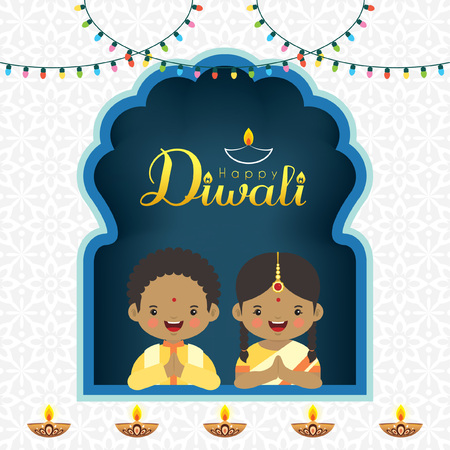 Diwali / Deepavali vector greeting illustration. Cute indian kids with colorful light bulbs and burning diya (india oil lamp) for festival of Lights celebration.