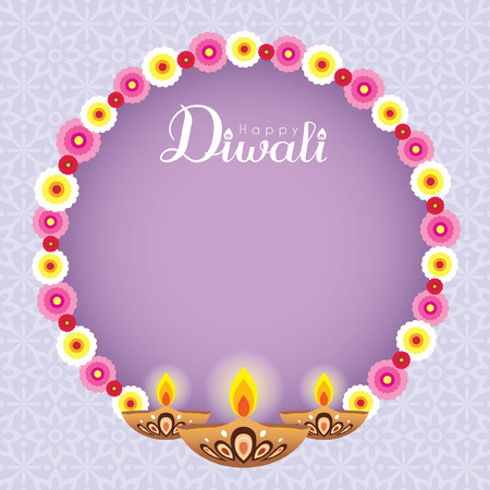 Diwali or deepavali greeting card with beautiful floral wreath diwali or deepavali greeting card with beautiful floral wreath and burning diya india oil lamp m4hsunfo