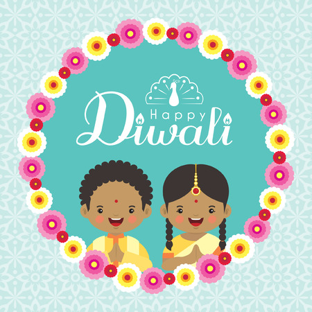 Diwali or Deepavali greeting cardd with cute india kids and floral wreath on blue pattern background. Festival of lights vector illustration.
