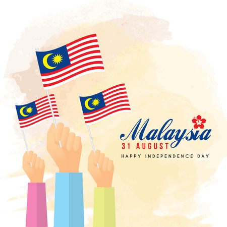 Malaysia Independence Day illustration of citizen with Malaysia flags.