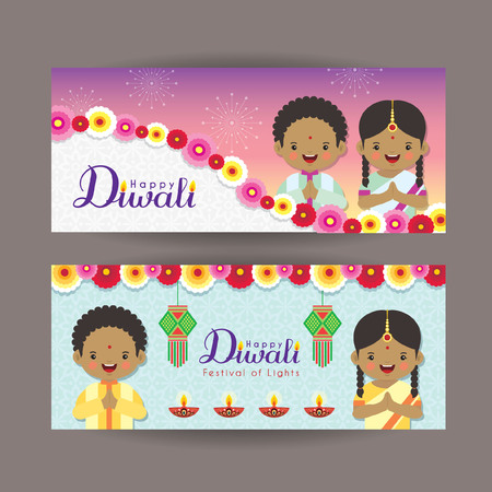 Diwali or Deepavali banner template design.Cute cartoon India kids, india lantern and diya. Festival of Lights celebration vector illustration. Illustration