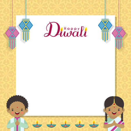 Diwali message notes or copy space with india lanterns, cute Indian kids and diya (india oil lamp). Festival of Lights celebration vector illustration. Illustration