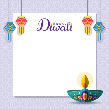 Diwali message notes or copy space with diya (india oil lamp) and india lantern. Festival of Lights celebration vector illustration.