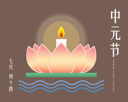 Chinese Ghost Festival illustration of floating lotus lantern. (Caption: Zhong Yuan Jie ; 14th of July)