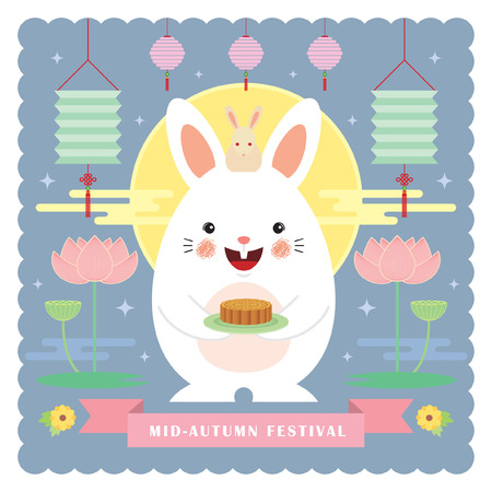 Mid autumn festival greeting card tempalte. Cute cartoon rabbit holding mooncake with lanterns, lotus & full moon in flat design style. Vector illustration.