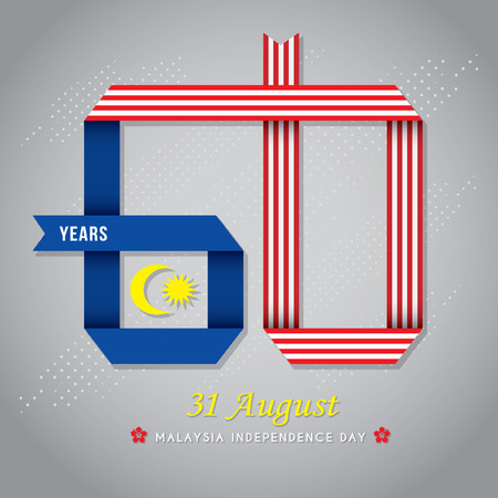 31 August - Malaysia Independence Day illustration. Ribbon in form of 60 base on Malaysian flag colours isolated on grey background.