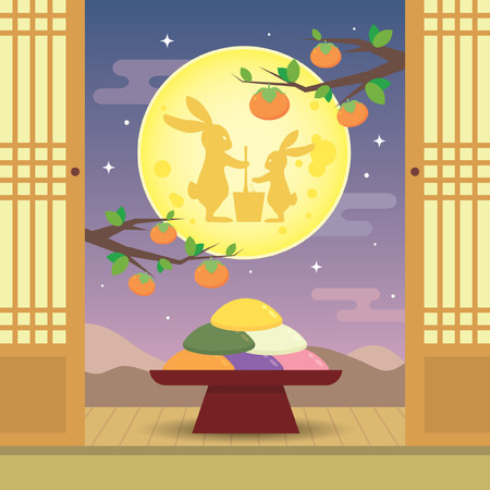 Chuseok or Hangawi - Korean Thanksgiving Day. Korean rice cake (songpyeon) with rabbits and beautiful night view. Korea vector illustration.