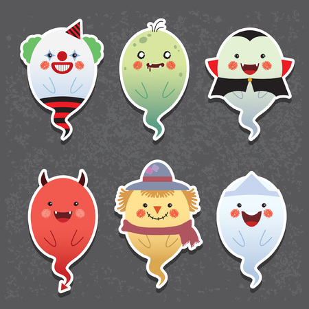Halloween. Halloween ghosts vector icon set. Set of collection of cute ghost with different halloween costume: clown, zombie, vampire, devil, scarecrow & japanese ghost. Stock Illustratie
